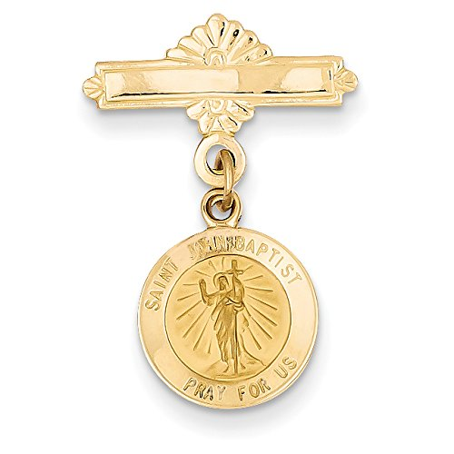 Diamond2Deal 14k Yellow Gold Saint John the Baptist Medal Pin ()