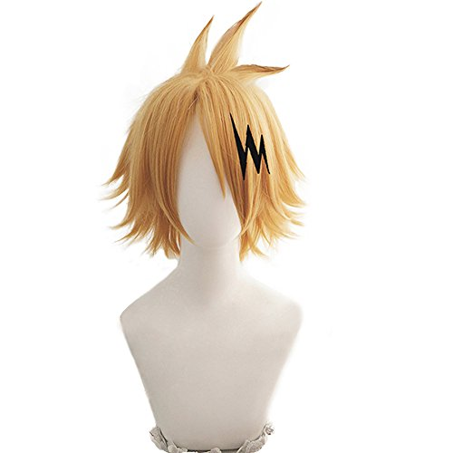 magic acgn Yellow Cosplay Wig Party For Men Short with hairpin Halloween Wig   -
