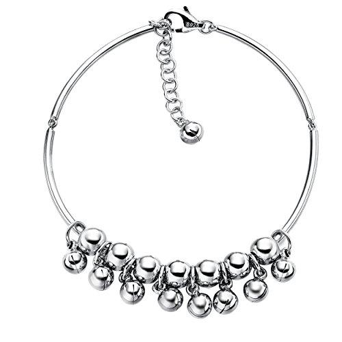 Jewever 925 Sterling Silver Jingle Bell Ball Round Bead Chain Bracelet Women Charm Bracelet