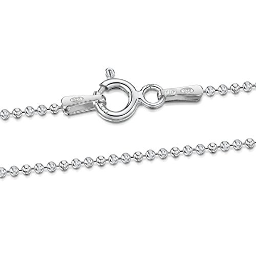 Amberta 925 Sterling Silver 1.2 mm Ball Bead Chain Necklace Length 20