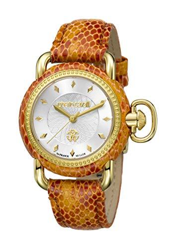 ROBERTO CAVALLI Women's RC-12 Gold Tone Swiss Quartz Watch with Leather Calfskin Strap, Orange, 22 (Model: RV1L017L0066)