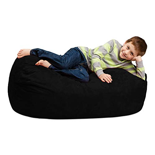 Chill Sack Bean Bag Chair: Large 4' Memory Foam Furniture Bag and Large Lounger - Big Sofa with Soft Micro Fiber Cover - Black