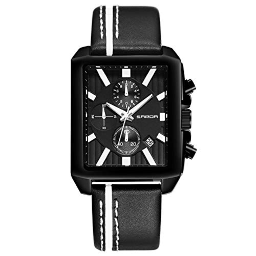 (High-end casual men's watch!Charberry Sports Men's Watch Chronograph Leather Strap Quartz Military Table Male (Black) )