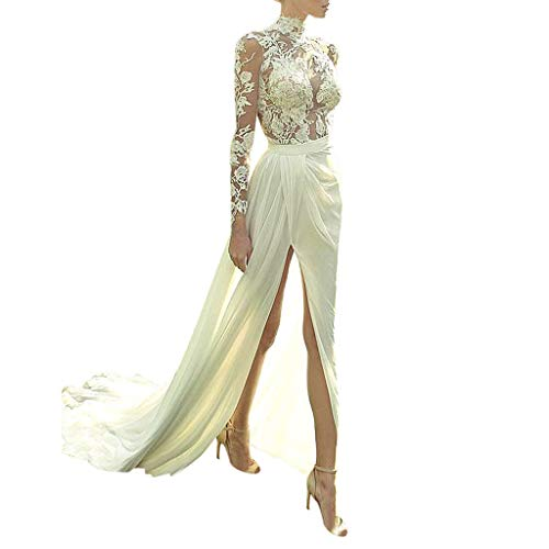 (Women Sweetheart Ball Gown Lace Appliques Hollow Long Sleeve High Slit Formal Evening Dress White)