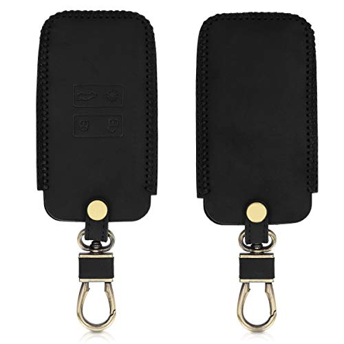 kwmobile Car Key Cover for Renault - Heavy Duty Genuine Leather Protective Key Fob Cover for Renault 4 Button Car Key Smart Key (only Keyless Go) - Black