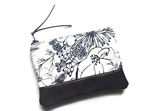 Blue Floral Leather Coin Purse, Small Change Wallet
