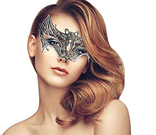 (duoduodesign Exquisite Lace Masquerade Mask (Silver/Bat/Soft)