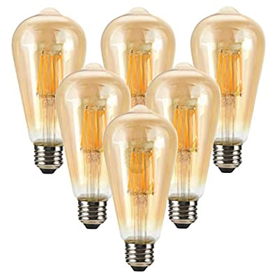 LED Dimmable Vintage Edison Led Bulbs 6W Antique Style Edison Light Bulbs, 2300K Warm White (Amber Gold Glass), Squarrel Cage Filament Vintage Light Bulb,ST64, E26 Base