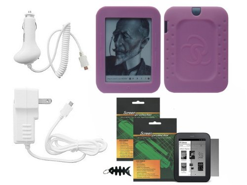 iShoppingdeals - 5 Item Bundle for Barnes & Noble NOOK Simple Touch Wi-Fi (2nd Generation): Pink Soft Cover Case, Vehicle Cigarette Lighter Power Car Charger, Travel Wall AC Charger, Screen Protector, and Smart Cord Wrap