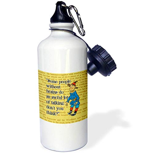 3dRose Russ Billington Designs- Wonderful Wizard of Oz - People Without Brains-Scarecrow Over Yellow Brick Background and Text - 21 oz Sports Water Bottle (wb_302296_1) -