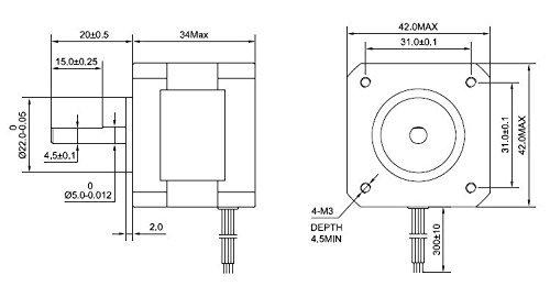 Longruner Moteur pas /à pas NEMA 17/bipolaire 48/mm 84oz 2/A 4/Laisse avec c/âble de 1/m et connecteur pour imprimante 3d CNC pour loisir 4/pcs 36/mm M3/Vis Lqd04 1/support de montage en 59ncm