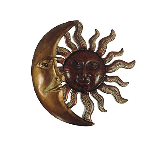 (Benzara BM05394 Celestial Sun and Moon Wall Decor in Metal, Bronze Gold and Rust Brown )
