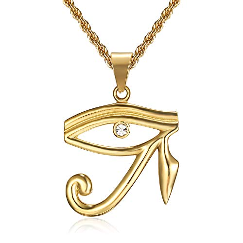 Lee Island Fashion 24K Gold Plated CZ Eye of Horus Egypt Protection Pendant Stainless Steel Necklace, 24 Inch Chain Jewelry