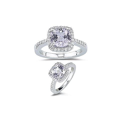 0.27 Ct Diamond & 2.60 Cts AA Kunzite Ring in 14K White Gold-7.0 (Kunzite Rings In White Gold)
