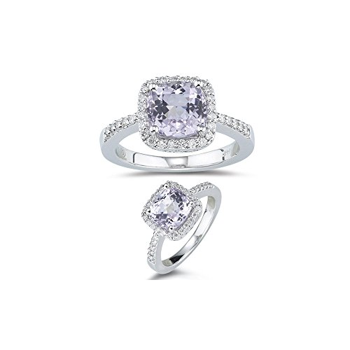0.27 Ct Diamond & 2.60 Cts AA Kunzite Ring in 14K White (Cts Kunzite Ring)