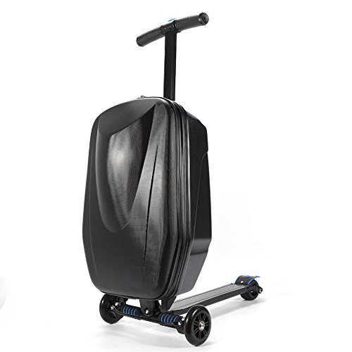 Luggage Scooter, 20'' Foldable Multifunctional Scooter Suitcase with Handbag Wheels for Airport Travel Business School 20-35L USA Stock (Black)