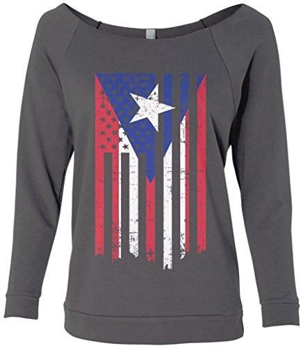 Threadrock Women's Puerto Rico American Flag Raw-Edge Raglan Shirt S (Raw Edge Raglan)