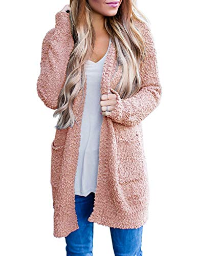 MEROKEETY Women's Long Sleeve Soft Chunky Knit Sweater Open Front Cardigan Outwear with Pockets Pink
