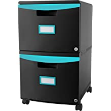 Storex 2-Drawer Mobile Filing Cabinet, 18.25 x 14.75 x 26 Inches Letter/Legal, Black/Teal (61315U01C)