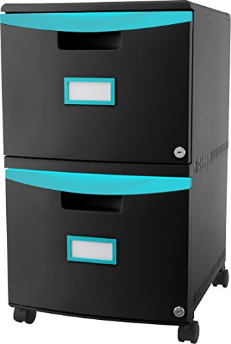 Storex 2-Drawer Mobile Filing Cabinet, 18.25 x 14.75 x 26 Inches Letter/Legal, Black/Teal (61315U01C) Drawer Letter Black File Cabinets