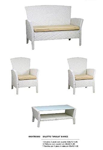 Salotto Da Giardino Bianco.Salotto Da Giardino Modello Amalia In Polyrattan Colore Bianco Con
