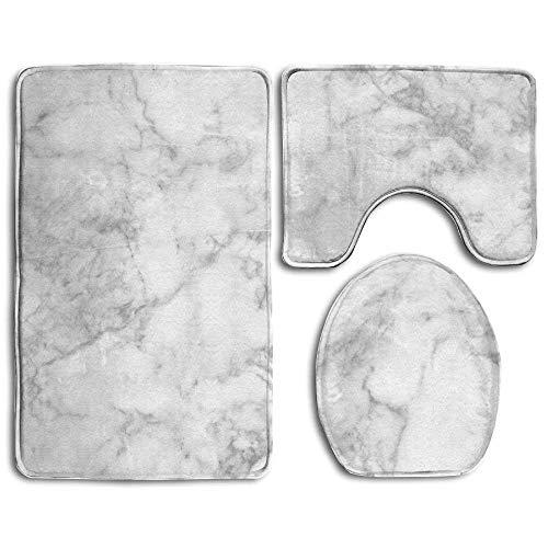 Marble Elongated Seat - CuteToiletLidABC Bath Mat,3 Piece Bathroom Rug Set,White Marble Flannel Non Slip Toilet Seat Cover Set,Large Contour Mat,Lid Cover for Men/Women
