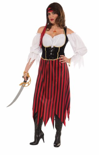 [Forum Plus-Size Big Fun Pirate Maiden Costume, Multi-Color, Plus Size] (Halloween Pirate Woman Costumes)