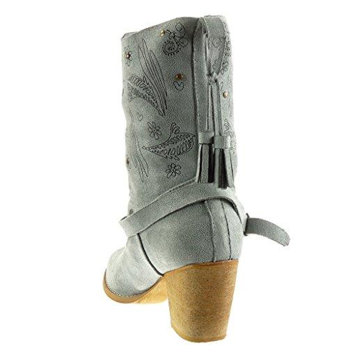 Frange Angkorly Flessibile Scarpe Moda Fiori Cm Alto Blocco 7 Tanga Tacco Cavalier Da Grigio Scarponcini Santiags Stivaletti Donna Cowboy A 7BSx7wf