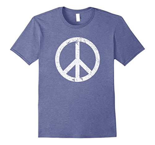 Mens Vintage Peace Sign White Distressed T Shirt 2Xl Heather Blue