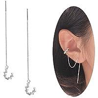 Robert JC 925 Sterling Silver Wave Cuff Chain Earrings Wrap Tassel Earrings for Women Perfect