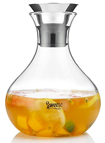 Glass Tea Pitchers (Sweese Glass Pitcher with Flip Lid - 50 Ounces Heat Resistant Carafe for Wine, Iced Tea, Homemade Juice, Cold Brewed Coffee and Fruit Infused Water)