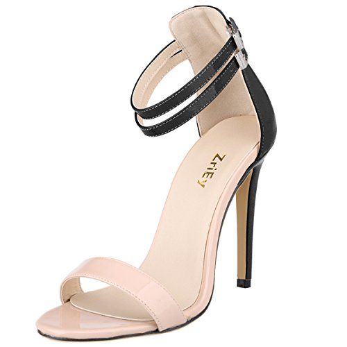 ZriEy Dance&Style Women's Ladies Double Strap Buckle Closed High Heel Wedding Party Work Sandals Peep Toe Nude and Black size 7.5