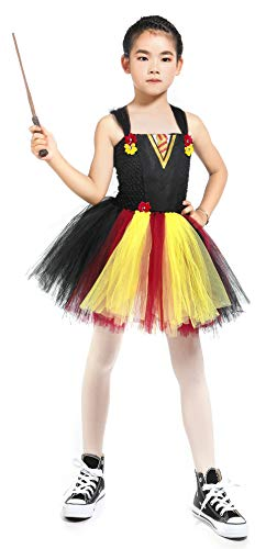 Halloween Role Play Costumes for Girls Christmas Party Circus Tutu Dress with Wand Size 5-6 Black