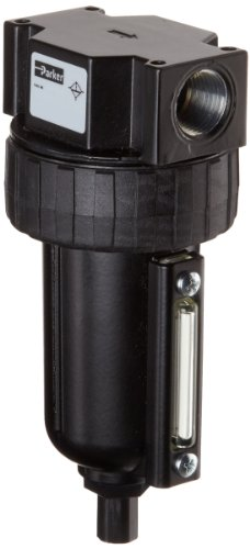 Parker 06F38AC Compressed Air Filter, Removes Particulate, Metal Bowl with Sight Gauge, Auto Float Drain, 40 Micron, 85 scfm, 1/2'' NPT by Parker