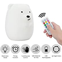 Tecomax Baby Night Light Nursery Lamp,Portable Multicolor Convert Cute Soft Silicon LED Breathing Lamp with USB Rechargeable and Wireless Remote Control for Kids & Children.(Bear)