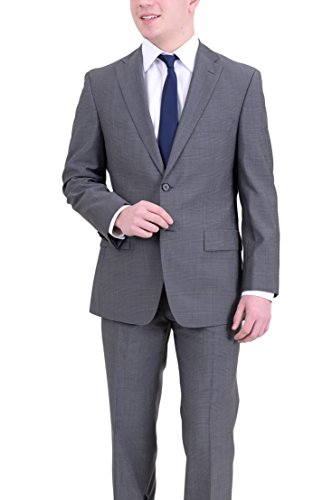 Hugo Boss Paolini1/movio1 Classic Fit Gray Plaid Two Button Wool Suit Two Button Wool Suit