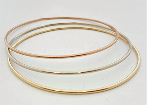 1.50 MM. Round Wire 10 K &14 K Solid Gold Slip-On Stacking Bangle/Bracelets Tricolor SOLID GOLD(NOT HOLLOW OR TUBE) by A.H. Design