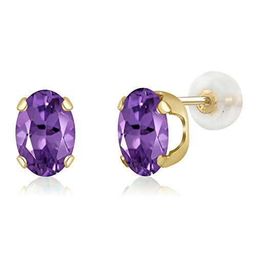 2.00 Ct Oval 8x6mm Purple Amethyst 14K Yellow Gold Stud (Amethyst 14k Gold Post Earrings)