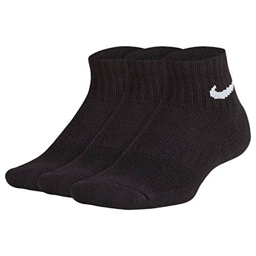 Nike Performance Cushioned Quarter Kids' Training Socks (3 Pair) (Black, S) -