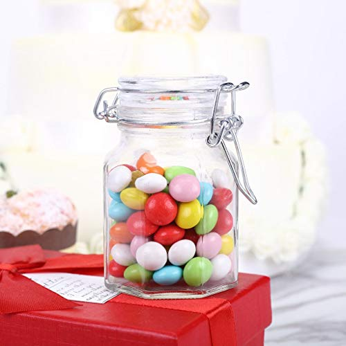 Efavormart 12 Jars 4oz Wholesale Clear Hexagon Glass Jars for Candy Beverage Favor with Flip Lid for Candy Buffet Event Decor ()