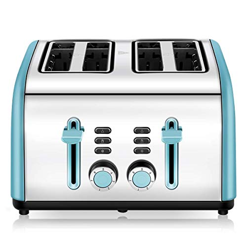 Toaster 4 Slice, CUSINAID 4 Wide Slots Stainless Steel Toasters with Reheat Defrost Cancel Function, 7-Shade Setting…