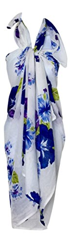 LuluVin Women's Beach Sarong Pareo Cover Up with 2 Hair Ties (Blue Hibiscus with Hair Ties)