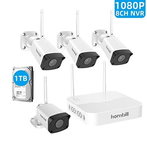 Security Camera System Wireless, Hornbill 8CH 1080P Home Video Security System with 1TB Hard Drive, 4 1080P Outdoor Waterproof Cameras with 100ft Night Vision, Easy Setup No Monthly Fee