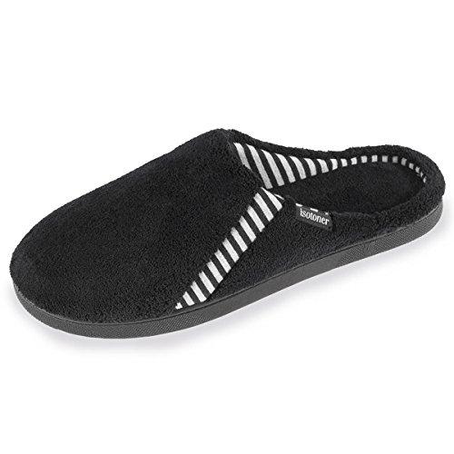 Zapatillas chinelas de rayas para hombre Isotoner Negro