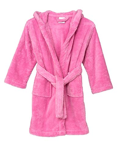 Robe Girls Fleece - TowelSelections Little Girls' Robe, Kids Plush Hooded Fleece Bathrobe Size 6 Begonia Pink