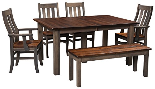 Solid Wood Maple Kitchen Dining Room Table for 6 Set, American Made Amish Furniture for the Holidays & Everyday, White Glove Delivery, Chair & Bench Choices, 2 Leaves (2 Side, 2 Benches)