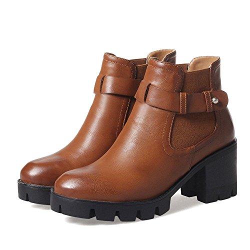 KingRover Women's Strap Buckle High Chunky Heel PU Ankle Boots Brown N8MmIdRbD