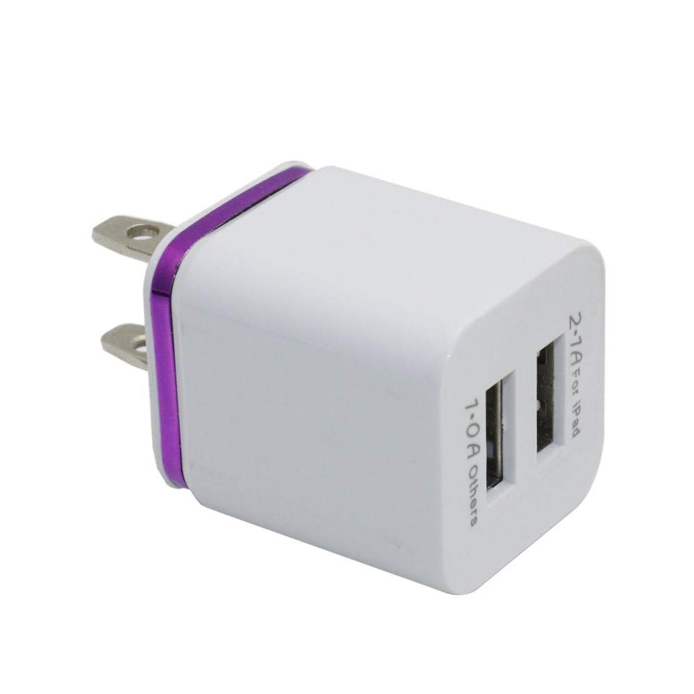 Lefthigh Home Travel Portable Dual Port AC USB Wall Charger High Efficiency US Plug (Purple)