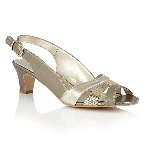 Lotus Leichte Valeria Gold Metallic-Leder Sling-Back Sandalen | Lotus Gold & Metallic