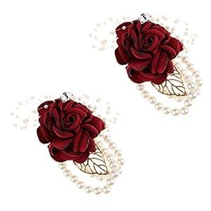 Prettyia 2pcs Artificial Bride Bridesmaid Silk Wrist Corsage Pearl Wristband Wedding Hand Flowers 52